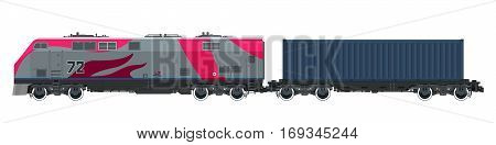 Locomotive with Cargo Container on Railroad Platform ,Cargo Train Isolated on White Background, Railway and Container Transport, Vector Illustration