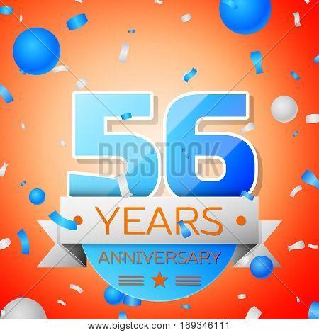 Fifty six years anniversary celebration on orange background. Anniversary ribbon