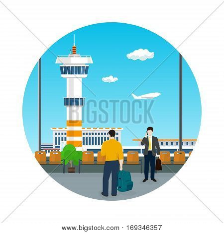 Icon Airport, View on Control Tower through the Window from a Waiting Room with People, Travel and Tourism Concept, Flat Design, Vector Illustration