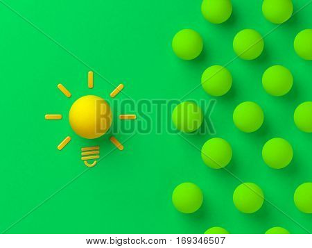 Great idea concept 3d illustration shining lightbulb with a balls.