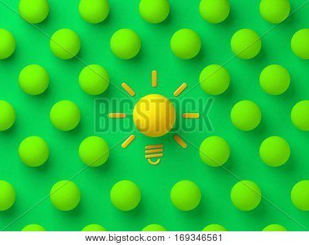 Yellow ball among the green balls. Good idea concept  3d illustration.