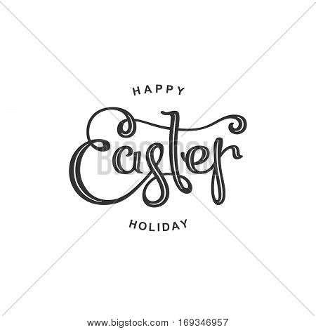 Happy Easter Day. Plain handwritten calligraphy composition. Vector template for festive design.