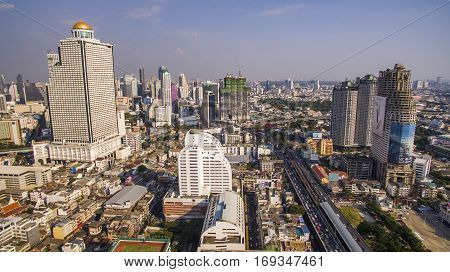 BANGKOK THAILAND - DECEMBER 24 : aerial view of skyscraper and sathorn road most important of office building in heart of capital on december 24 2015 in bangkok thailand