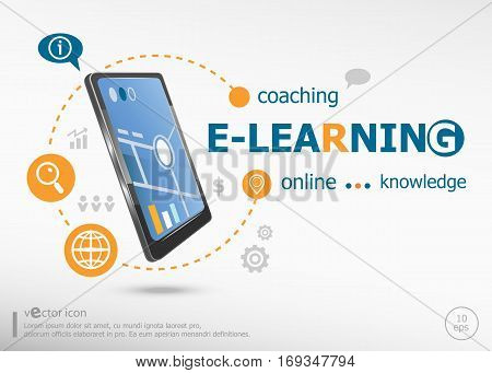 Word Cloud E-learning Concept And Realistic Smartphone Black Color.