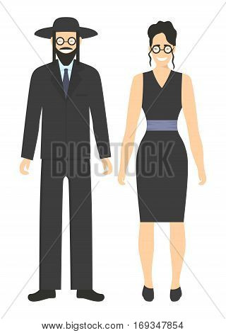Isolated jewish couple on white background. Smiling people in national costumes.