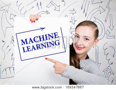 Young woman holding whiteboard with writing word: machine learning. Technology, internet, business and marketing