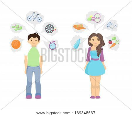 Healthy lifestyle concept. Fit and slim man and woman with icons showing good lifestyle.