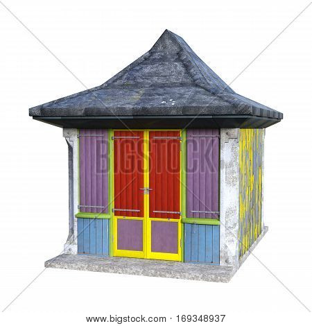 3D Rendering Beach Hut On White