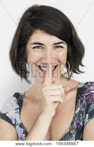 Caucasian Lady Smiling Hand Gesture Keep Quiet