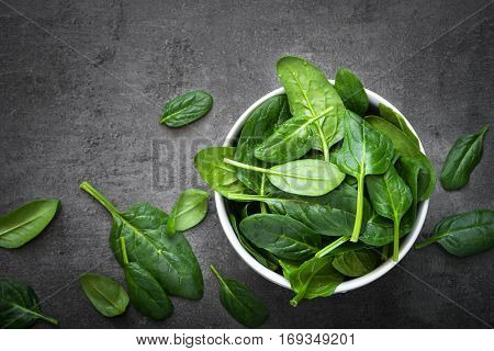 Baby spinach leaves in a bowl on a dark background. Top view with copy space.