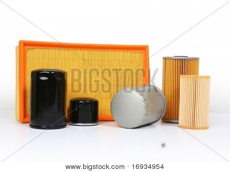 automotive oil filter isolated on white