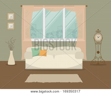 Living room in a green color. There is a white sofa with pillows on a window background in the picture. There is also a grandfather clock here. Vector flat illustration.