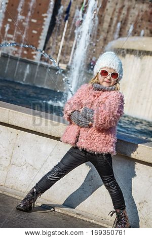 Trendy Girl Near Sforza Castle In Milan, Italy