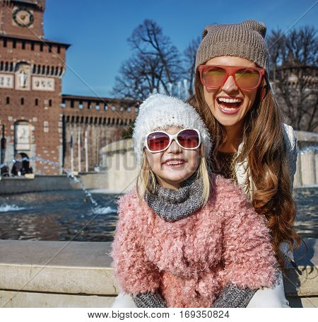 Mother And Daughter Tourists Near Sforza Castle