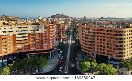 Aerial view of Alicante city. Quadcopter. Wide angle image. Costa Blanca. Spain