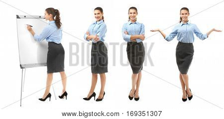 Collage of business trainer on white background