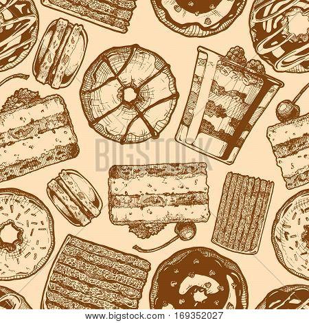 Seamless pattern with different cakes. Tiramisu donut cranachan vinarterta and macaron. Vector illustration background in ink hand drawn style.