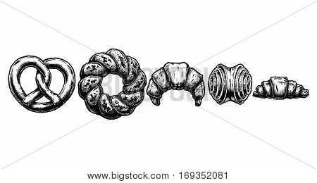 Vector hand drawn illustration of sweet pastries set in ink hand drawn style. Pretzel kalach kifli franzbroetchen and croissant.