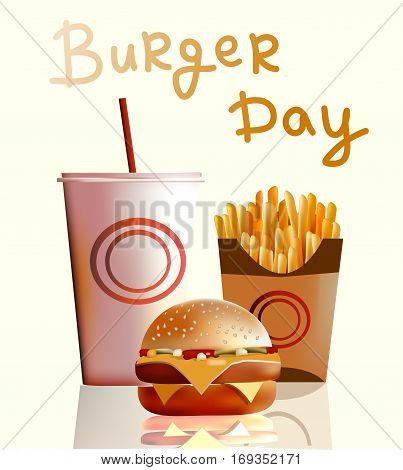 Vector illustration banner burger fries cola fast food is the most popular in the world of food