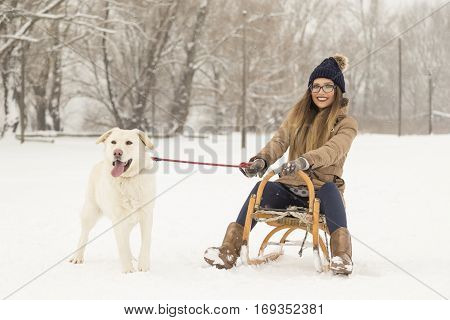 Young girl sitting on a sleigh and holding her dog's leash while dog is standing in the snow next to the sleigh both enjoying a winter day in nature