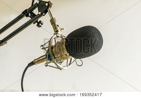 Professional condenser studio microphone Musical Concept.