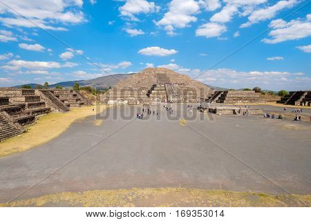 The Pyramid of the Moon and the Plaza of the Moon at Teotihuacan, a major archaeological site near Mexico City