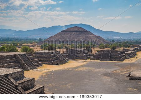 View of the Pyramid of the Sun and the Avenue of the Dead at Teotihuacan, a major archaeological site near Mexico City