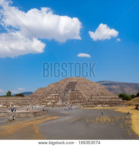 The Pyramid of the Moon on a sunny day at Teotihuacan, a major archaeological site near Mexico City