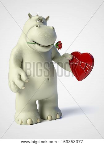 3D rendering of romantic cartoon hippo holding a red heart shaped chocolate box in his hand and having a rose in his mouth. White background.