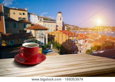 background with cup of coffee in europe.