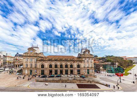 A Panoramic View Of São Bento Trainstation. Porto, Portugal