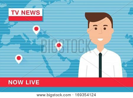 Anchorman Reading News in Live TV Broadcast. Vector Illustration