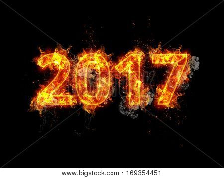 Fiery 2017 New Years date with burning numerals consumed by tongues of orange flame over a dark background with copy space