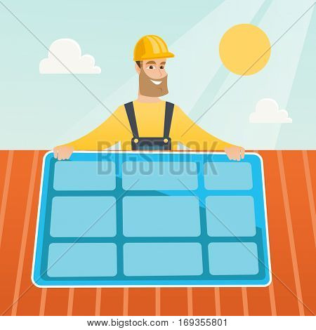 Caucasian technician installing solar panels on roof. Technician in inuform and hard hat checking solar panel on roof. Technician adjusting solar panel. Vector flat design illustration. Square layout.