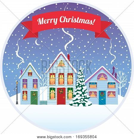 Stock vector illustration of Christmas in the city