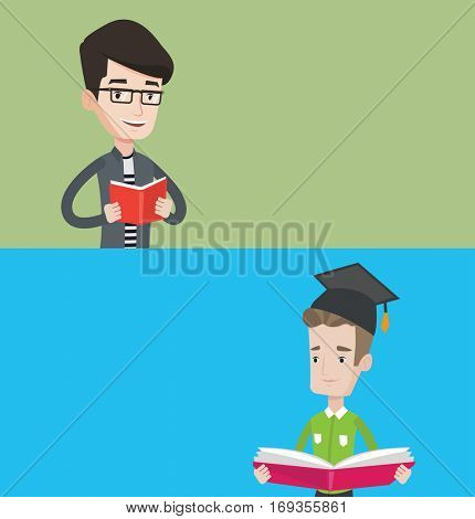 Two educational banners with space for text. Vector flat design. Horizontal layout. Student reading a book. Cheerful male student reading a book and preparing for exam. Student holding a book in hands