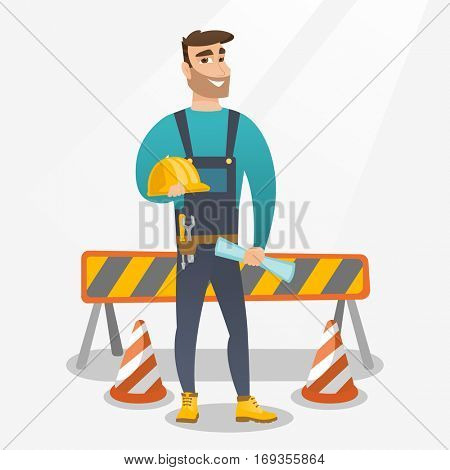 Caucasian constructor with blueprint at construction site. Constructor holding hard hat and twisted blueprint. Constructor checking construction works. Vector flat design illustration. Square layout.