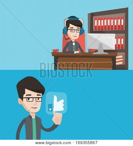 Two media banners with space for text. Vector flat design. Horizontal layout. Man using computer for playing game. Gamer in headphones playing computer game. Businessman working on computer in office.