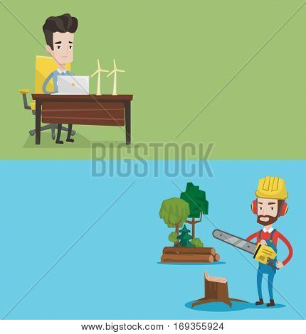 Two ecology banners with space for text. Vector flat design. Horizontal layout. Engineer working on laptop. Engineer projecting wind turbines in his office. Man working with model wind turbines.