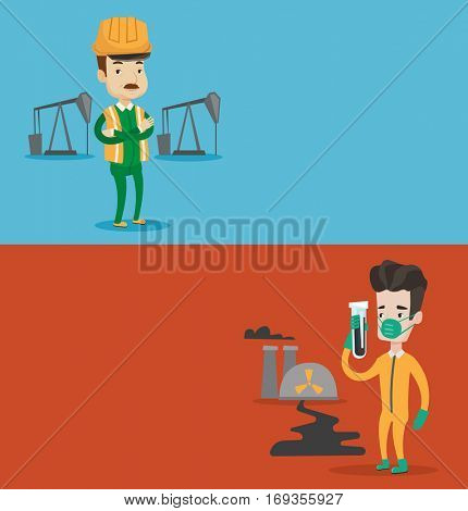 Two ecology banners with space for text. Vector flat design. Horizontal layout. Oil worker in uniform and helmet. Oil worker standing with crossed arms. Oil worker standing on background of pump jack.
