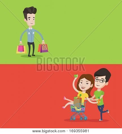 Two shopping banners with space for text. Vector flat design. Horizontal layout. Smiling man holding shopping bags. Couple of young carefree friends having fun while riding by shopping trolley.
