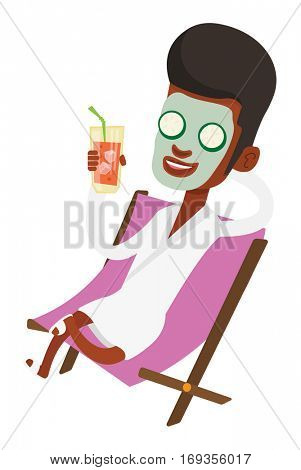African man with face mask and towel on his head lying in beauty salon. Young man relaxing in beauty salon. Man having beauty treatments. Vector flat design illustration isolated on white background.