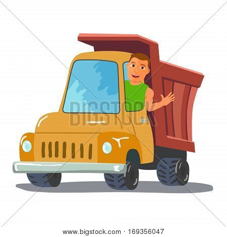 Cartoon Truck Driver Character Waving From Truck. Vector illustration