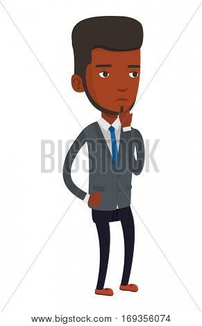 Concentrated african-american businessman thinking. Young businessman thinking of something. Concept of business thinking. Vector flat design illustration isolated on white background.