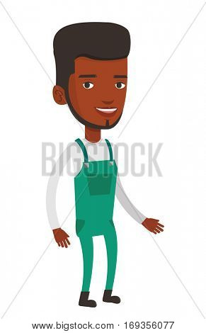 Smiling cheerful african-american farmer man in overalls. Illustration of full lenght of young satisfied farmer man. Vector flat design illustration isolated on white background.
