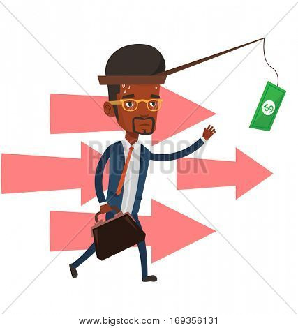 Businessman motivated by money hanging on fishing rod. Money on fishing rod as motivation for businessman. Concept of business motivation. Vector flat design illustration isolated on white background.