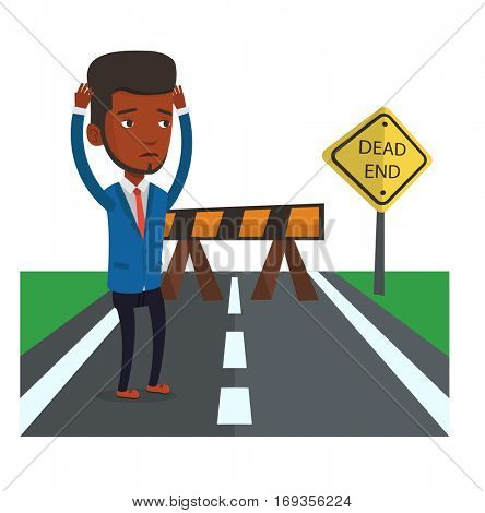 Businessman looking at road sign dead end symbolizing business obstacle. Man facing with business obstacle. Business obstacle concept. Vector flat design illustration isolated on white background.