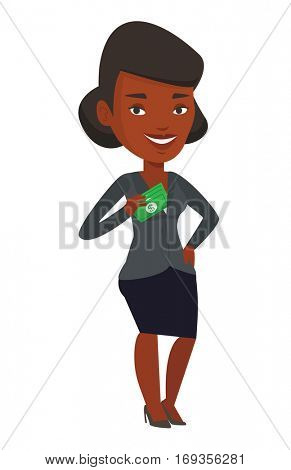 African business woman putting money bribe in her pocket. Business woman hiding money bribe in pocket. Bribery and corruption concept. Vector flat design illustration isolated on white background.