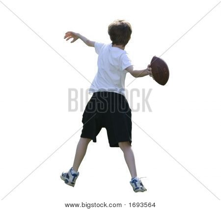 Boy Throwing Football With Clipping Path