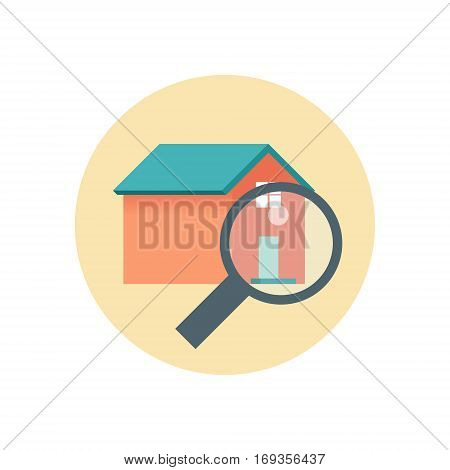 Flat Design Realty Icon Home with Magnifying Glass. Vector illustration